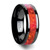 Nova Black Ceramic Wedding Band with Red Opal Inlay