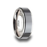 Oakland Tungsten Wedding Band with Raised Black Brushed Ceramic Center