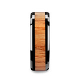 Oblivion Black Ceramic Wedding Band with Red Oak Wood Inlay