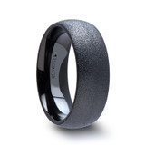 Obsidian Domed Sandblasted Black Tungsten Wedding Band