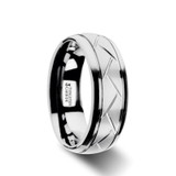 Octavian Domed Brushed Tungsten Wedding Band with Crisscross Grooves