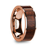 Olympos 14k Rose Gold Men's Wedding Band with Carpathian Wood Inlay