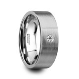 Olympus Brushed Flat Tungsten Wedding Band with Diamond
