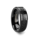 Onyx Black Ceramic Wedding Band with Black Carbon Fiber Inlay
