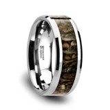 Ordovician Tungsten Wedding Band with Dinosaur Bone Inlay