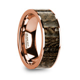 Oreste Flat 14k Rose Gold Men's Wedding Band with Brown Dinosaur Bone Inlay