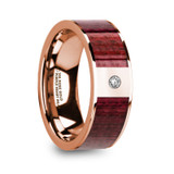 Orestes 14k Rose Gold Men's Wedding Band with Purpleheart Wood Inlay & Diamond