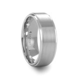 Orloff White Tungsten Wedding Band with Raised Brushed Center