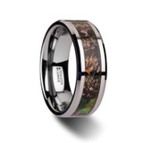 Overgrowth Realistic Tree Camouflage Tungsten Wedding Band with Green Leaves