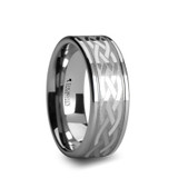 Paetus Flat Tungsten Wedding Band with Celtic Design
