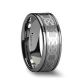 Palatine Tungsten Wedding Band with Celtic Pattern