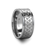 Pallas Tungsten Wedding Band with Celtic Knot Pattern