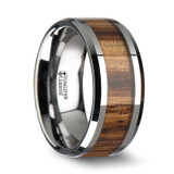 Palmaletto Tungsten Wedding Band with Zebra Wood Inlay