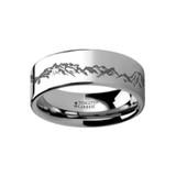 Peaks Mountain Range Outdoors Engraved Flat Tungsten Wedding Band