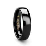 Phoebe Domed Black Tungsten Wedding Band
