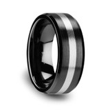 Phoenix Brushed Black Ceramic Wedding Band with Tungsten Inlay