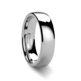Platina Domed White Tungsten Wedding Band