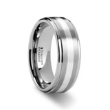 Praetor Satin Finish Tungsten Wedding Band with Silver Inlay