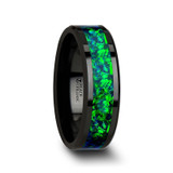 Pulsar Black Ceramic Wedding Band with Blue/Green Opal Inlay