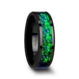 Pulsar Black Ceramic Wedding Band with Blue/Green Opal Inlay