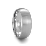 Pythius Domed Brushed White Tungsten Wedding Band