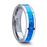 Quasar Tungsten Wedding Band with Blue/Green Opal Inlay