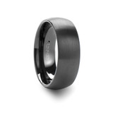 Raider Domed Brushed Black Tungsten Wedding Band
