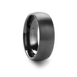 Raider Domed Brushed Black Tungsten Wedding Band