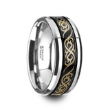 Raizen Black Tungsten Wedding Band with Offset Grooves & Engraved Celtic Pattern