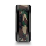 Ranger Black Ceramic Wedding Band with Military Style Jungle Camo