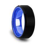 Rigel Brushed Black Tungsten Wedding Band with Blue Inside Color