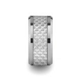 Rockford Tungsten Wedding Band with White Carbon Fiber Inlay