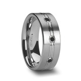 Royale Tungsten Wedding Band with Grooved Center & 3 Black Diamonds