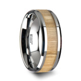 Samara Tungsten Wedding Band with Ash Wood Inlay