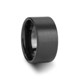 San Antonio Flat Brushed Black Tungsten Wedding Band