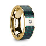 Saros 14k Yellow Gold Men's Wedding Band with Black & Green Carbon Fiber Inlay & Diamond