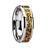 Savannah Tungsten Wedding Band with Cheetah Print Inlay