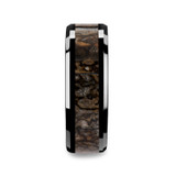 Silurian Black Ceramic Wedding Band with Dinosaur Bone Inlay