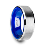 Sirius Brushed Tungsten Wedding Band with Blue Interior Color