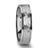 Thornton Hammered White Tungsten Wedding Band with Offset Grooves
