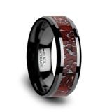Triassic Black Ceramic Wedding Band with Red Dinosaur Bone Inlay