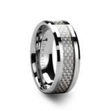 Ultimus Tungsten Women's Wedding Band with White Carbon Fiber Inlay