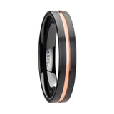 Venice Black Ceramic Wedding Band with Rose Gold Groove