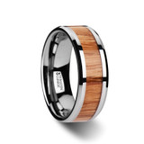Vermillion Tungsten Men's Wedding Band with Red Oak Wood Inlay