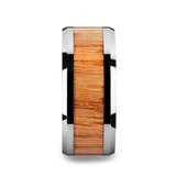 Vermillion Tungsten Men's Wedding Band with Red Oak Wood Inlay