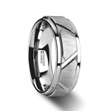 Vestige Tungsten Wedding Band with Triangle Grooves & Raised Center