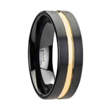 Vivaldi Black Ceramic Wedding Band with Yellow Gold Groove