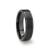 Vulcan Flat Brushed Black Tungsten Wedding Band