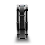 Windsor Brushed Black Tungsten Wedding Band with Grooves