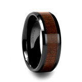 Yukon Black Ceramic Wedding Band with Black Walnut Wood Inlay
